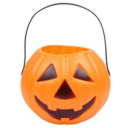 Halloween Candy Bucket Portable Pumpkin Decor Treat Bag With Handle (Orange And Black)