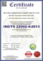 ISO/TS 22002-4:2013 Certification & Consultancy Service