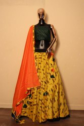 Womans Printed Cotton Lehenga Choli, Length: 42, 2.3 Meter