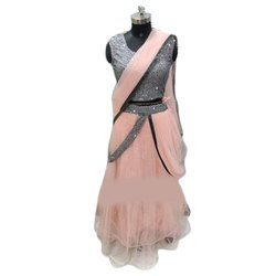 Embroider Ladies Light Pink Half And Half Saree, With Blouse Piece