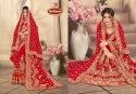 Dyed Georgette Heavy Embroidery Saree & Diamond work Blouse with Dupatta - Dulhan Special  03