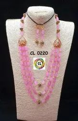 Cl Code Baby Pink Semi Precious Stone Beads Party Wear Multilayer Bollywood Designer Necklace Set