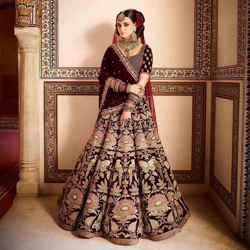 9b05847489 Gold And Maroon Bridal Velvet Lehenga Choli, Rs 3849 /piece   ID ...