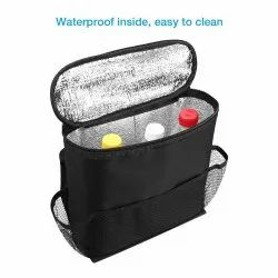 Black Polyester Car Seat Back Organizer and Cooler