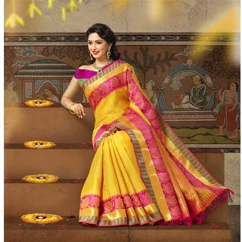 Yellow Wedding Wear And Festive Bridal Silk Saree