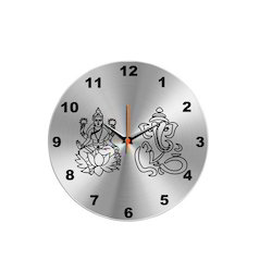 Laxmi-Ganesh Steel Wall Clock