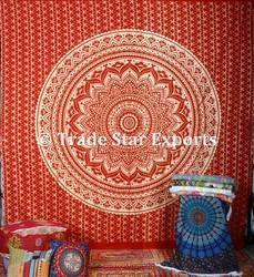 Indian Golden Ombre King Mandala Wall Hanging Tapestry