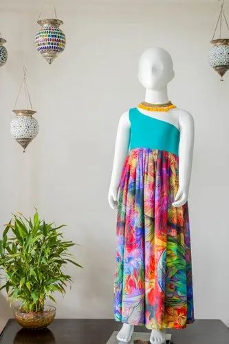 Viscose Crepe With Lining Printed One Shoulder Floor Length Dress