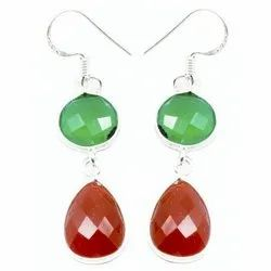 Cornolian With Green Onyx Sterling Silver Finished Earrings