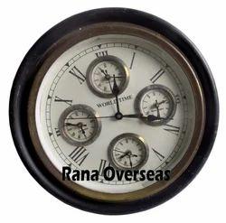 Wooden Round Shape World Clock