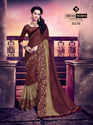Indian Women Maroon Lycra & Russell Jacquard Party Wear Sarees