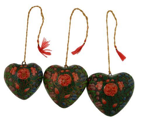 Christmas Heart Png.Paper Mache Christmas Heart Ornaments