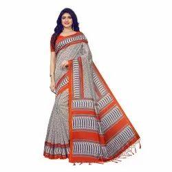 Orange Colored Poly Silk Casual Saree