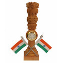 Wood Asoka Pillar Flag with Watch