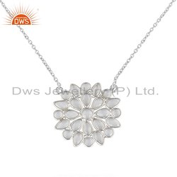 Flower Design Fine Silver Cz Gemstone Chain Pendants