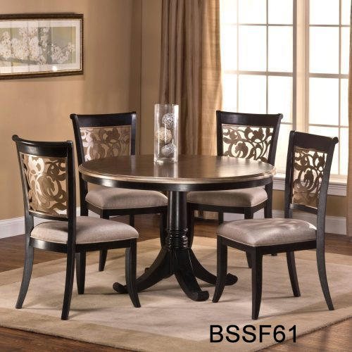 Wood 4 Seater Round Table Dining Set