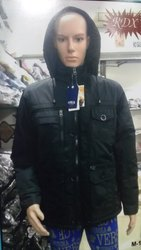 Men Black Hooded Jacket