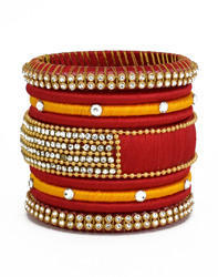 Stylish Red and Orange Silk Thread Bangle for woman and girls