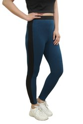 CrazeVilla Polyester Solid Peacock Blue Treggings With Stripes