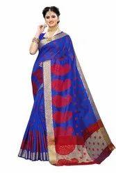 Banarasi Rich Pallu Party Wear Blue Saree With Blouse Piece