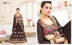 Brown Colour Anarkali Dress