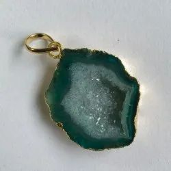 Agate Geode Druzy Pendant Necklace