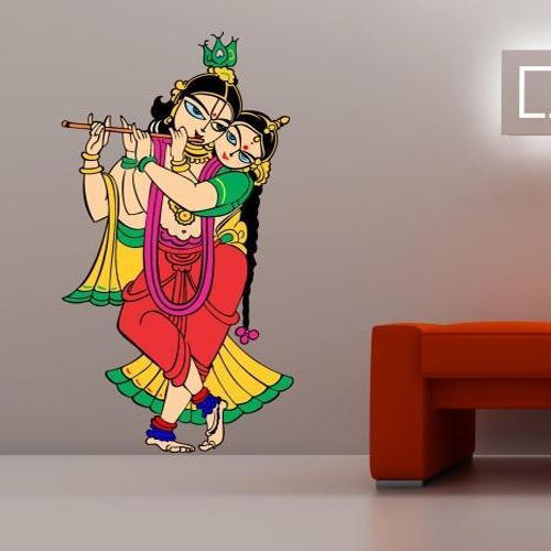 printed radhe krishna wall sticker, size/dimension: 4 square feet