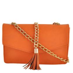 Orange Synthetic Leather Sling Bag