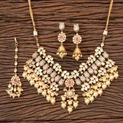Kundan Gold Plated Choker Necklace 300331, Occasion: Wedding