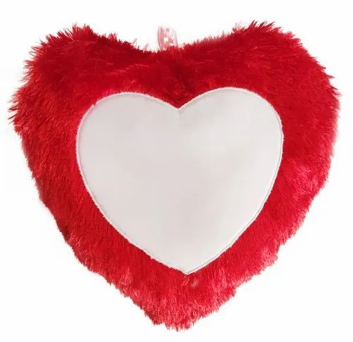 Super Shine Polyboa Sulimation Heart Pillow, Size: 15 Inches Or 37 Cm