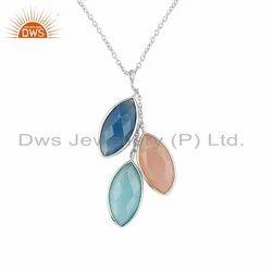 Rose Aqua Blue Chalcedony Gemstone Fine Silver Chain Pendant