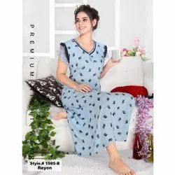 Rayon Printed Trimes Ankle Length Nightgown