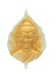 Golden Cream Buddha In Leaf - Wall Hanging