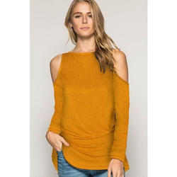 Medium And Large Plain Ladies Cold Shoulder Top