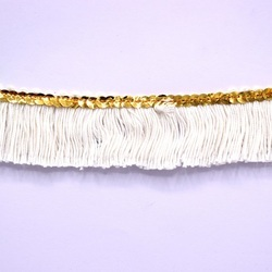 White & Gold Brush Fringe