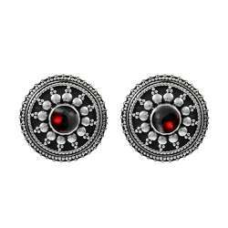 Beautiful 925 Sterling Silver Garnet Earrings