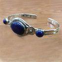 925 Sterling Silver Jewelry Lapis Lazuli Gemstone Bangle