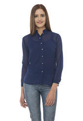 Plain Georgette Designer Full Sleeve Top