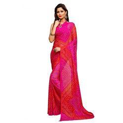 Pink-Red Bandhani Saree