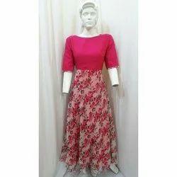 Pink Georgette Ladies Floral Print Gown