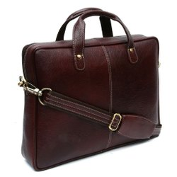 Unisex Brown Leather Laptop Sling Bag, Size: 10 Lts
