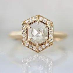真正的钻石玫瑰六角形钻石戒指