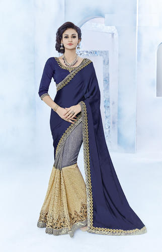 196e5332d3 Party Wear Multi Color Silk Georgette Half And Half Saree, Rs 1335 ...