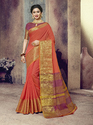 Orange Designer Traditional Wear Chanderi Cotton Saree with Blouse Piece