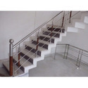 Stainless Steel Railing with Wooden Blustered