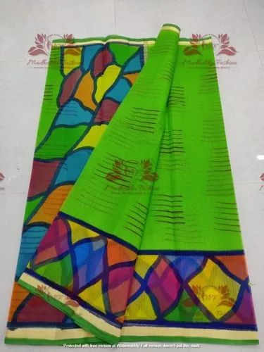 Fancy Kota Doria Hand Brush Paint Saree