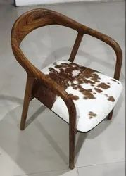 Wooden Chair With Hairon Leather Seat