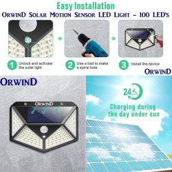 Solar Motion Sensor LED Waterproof Wall Lights Outdoor - 100 LED