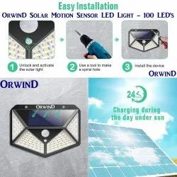 Orwind Solar Motion Sensor LED Waterproof Wall Lights Outdoor - 100 LED