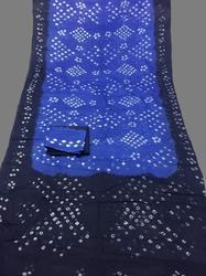 Blue Cotton Hand Made Bandhej Saree